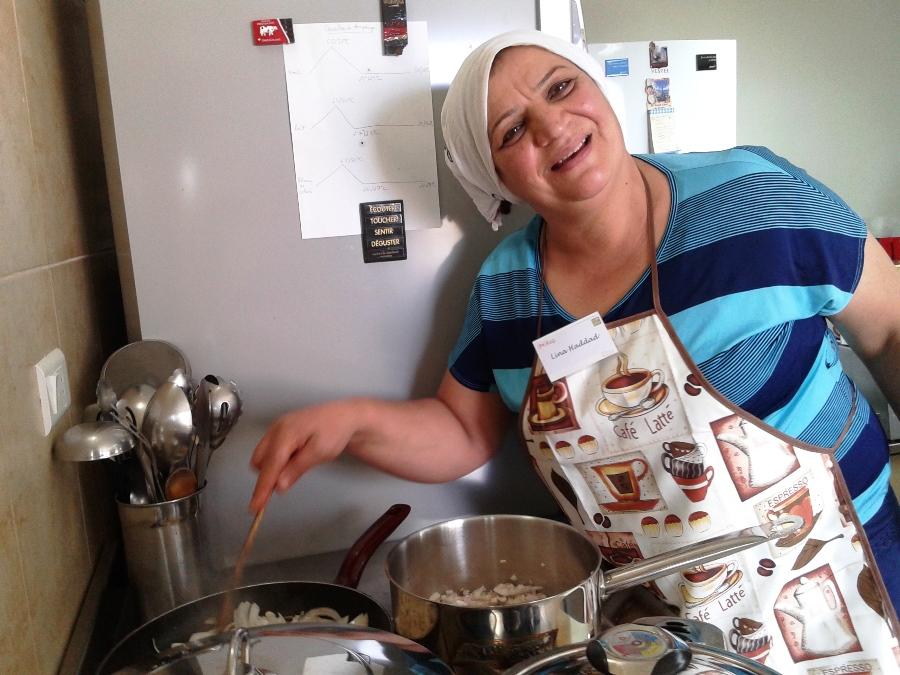 Lina preparing the kebbe stuffing