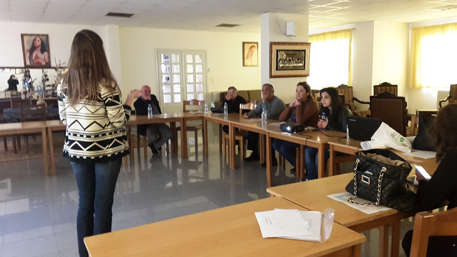 Ms. Dominique Anid - Health & Nutrition Specialist of FHF, introducing the concept of community kitchen to the ladies of Zahle CK