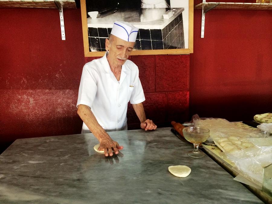 Abou Adham, preparing Tamriyye dough
