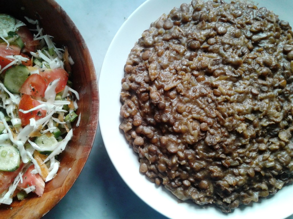 Moujaddara served with cabbage salad