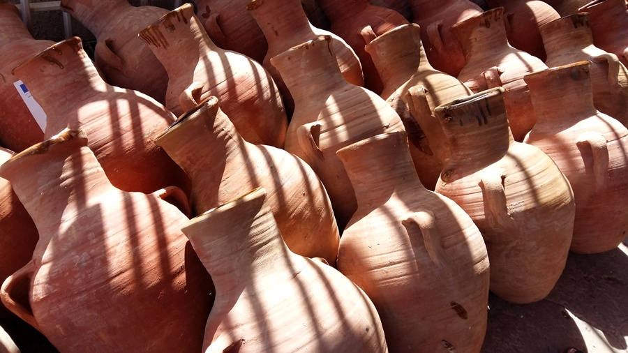 Clay jars ready to be filled with milk